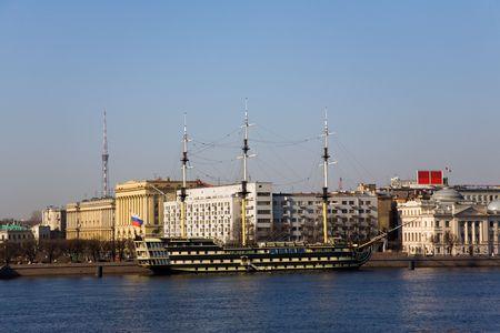 sailer: Three-masted sailer on Neva-river, Saint-Petersburg. Side view Stock Photo