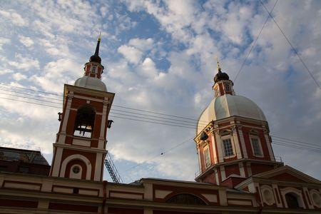 pilaster: Saint Pantaleon church: domes in evening sky. Saint-Petersburg Stock Photo