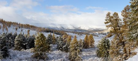 Landscape in mountain Altai - the first snow in the autumn (panorama) photo