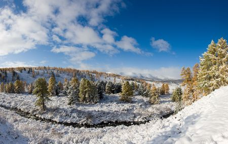 Landscape in mountain Altai - the first snow in the autumn (panorama) Stock Photo - 5598533