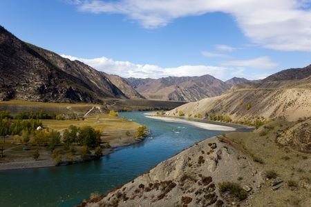 Bend of the mountain river Katun, Altai, Russia Stock Photo - 5741453