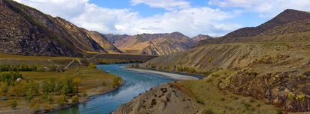 Panorama the river Katun in mountains, Altai, Russia Stock Photo - 5795034