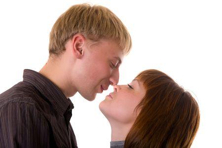 Loving couple portrait on a white background Stock Photo - 5808229
