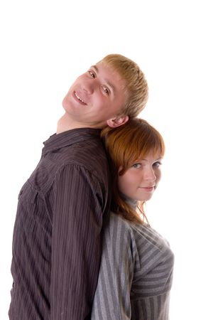 Loving couple portrait on a white background Stock Photo - 5869314