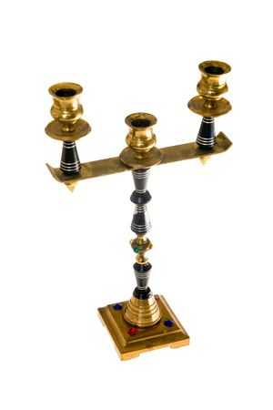 Metal candlestick with ornaments on a white background Stock Photo - 5903100