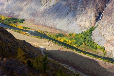 The mountain river in a valley, the top view Stock Photo - 5936888