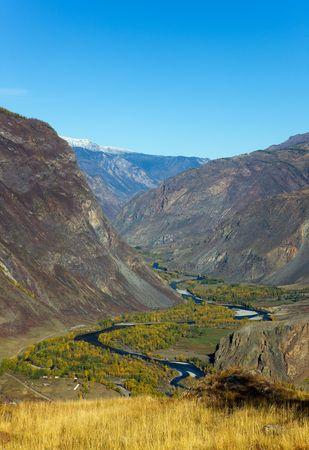 The mountain river Chulyshman in a valley, Altai, Russia photo
