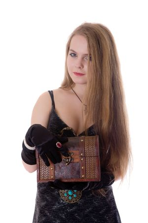 The girl with a wooden trunk in hands Stock Photo - 6098382