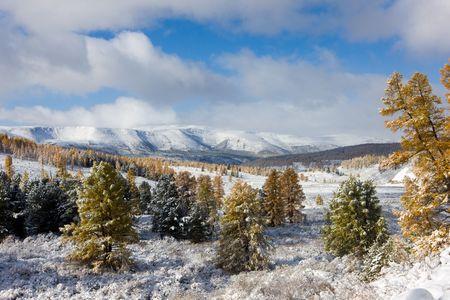 Winter landscape in mountains, Altai, Siberia, Russia photo