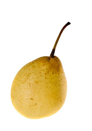 Yellow ripe pear close up isolated on white Stock Photo - 6289485