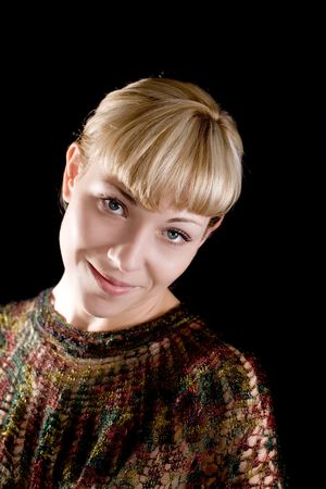 Portrait of the blonde on a black background photo