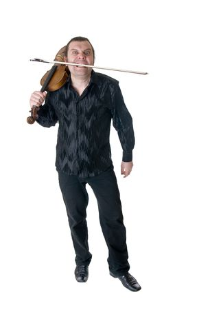expressional: The expressional musician with a viola, isolated Stock Photo