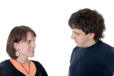 Loving couple during conversation, isolated on white Stock Photo - 7000565