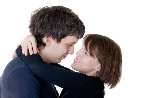 Loving couple during embraces, isolated on white Stock Photo - 7000566