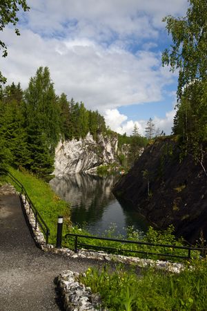 Mountain park the Marble open-cast mine in Ruskeala photo