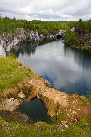 Mountain park the Marble open-cast mine in Ruskeala photo
