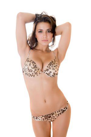 Portrait of the suntanned girl in bikini