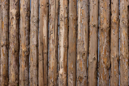 log on: Traditional wooden rural wall from old logs