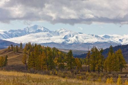 Autumn landscape in mountains, Altai, Siberia, Russia photo