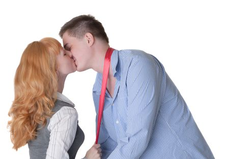 Loving couple kiss blindly, isolated on white Stock Photo - 8070090