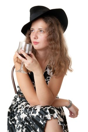 Portrait of the girl with a red wine glass photo