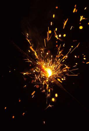 kıvılcım: Bengal fire sparks on black background close-up Stok Fotoğraf