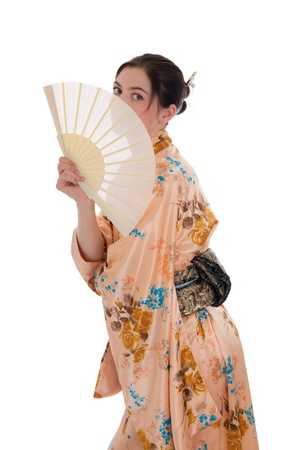 The girl in a kimono with a fan photo