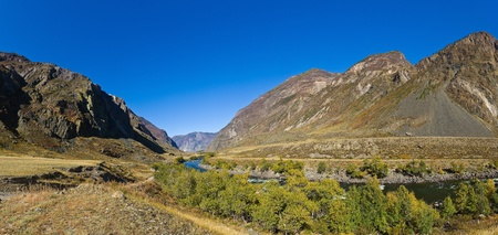River Chulyshman valley in mountains, panorama, Altai, Russia photo