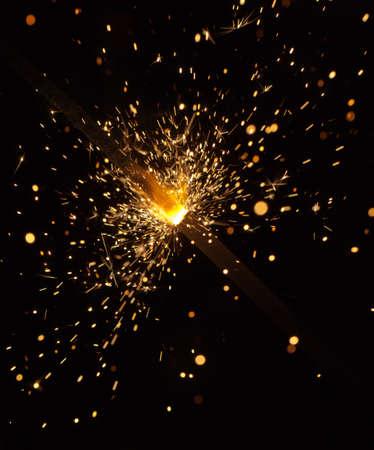 funken: Hell brennenden Fireworks in Nacht close up