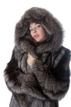 fur: Portrait of the girl in a fur coat