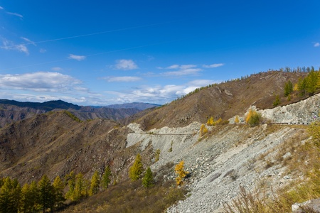 Mountain landscape - road from pass, Altai, Russia photo