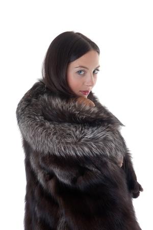 fur hood: Portrait of the girl in a fur coat