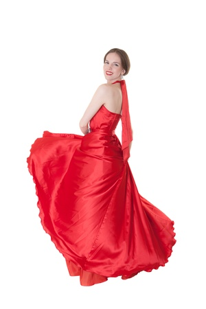 red evening: The girl in a red evening dress