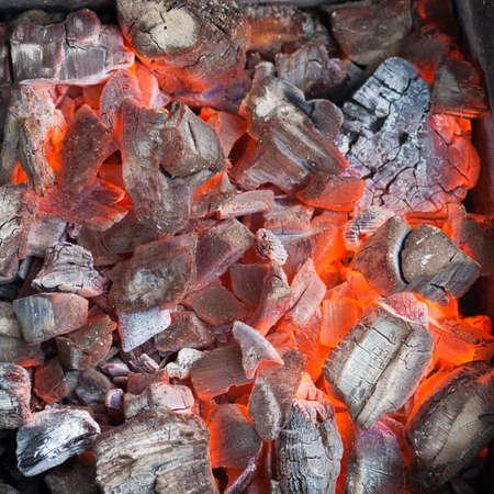 Burning coals for a shish kebab close up Stock Photo