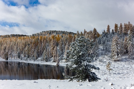 Lake in mountains. Autumn. The first snow photo