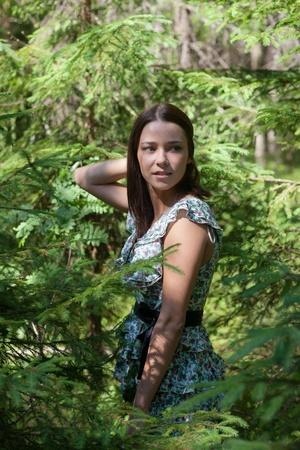 Portrait of the girl in fir-tree wood photo