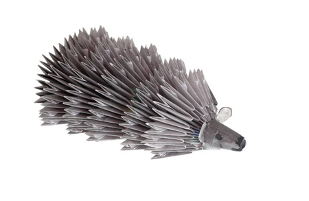 Paper hedgehog close up, isolated on white Stock Photo - 10823454
