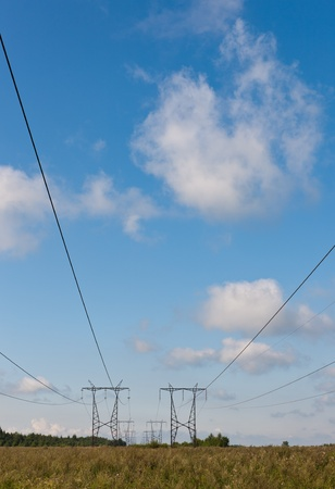 Landscape with an electric main in countryside Stock Photo - 11564161