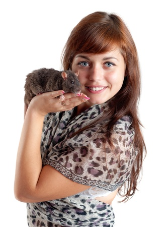 The girl with a black domestic rat photo