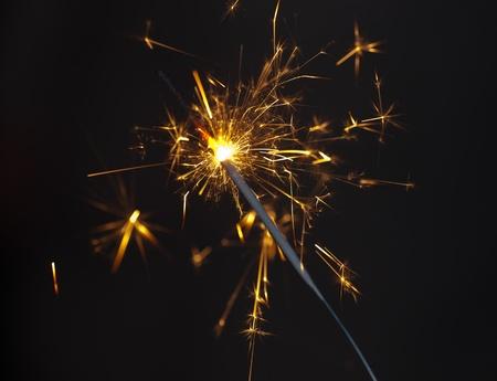 Celebratory Bengal fire in night close up