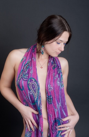 the sexy girl in a bright scarf Stock Photo - 12806592