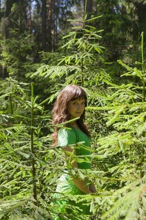 la chica del verano, la madera de coníferas Foto de archivo - 12806757