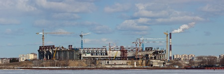 construction of new stadium on Krestovsky island in Sankt-Peterburg photo