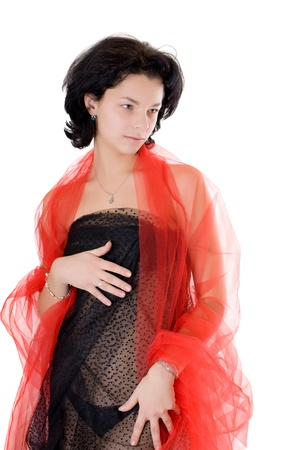 the sensual girl in black and red photo