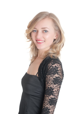 the blonde in a black dress, isolated photo