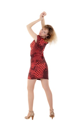 the slim girl in a red dress, isolated Stock Photo - 13764697
