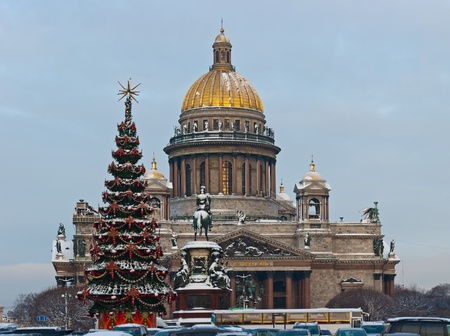 New Year's fir-tree in front of St. Isaac's Cathedral photo