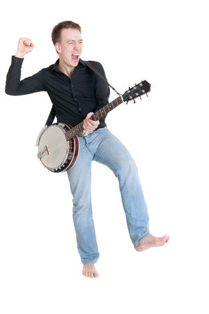 the expressional musician with a banjo, isolated photo