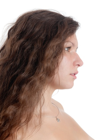 portrait of the girl with long hair in a profile photo
