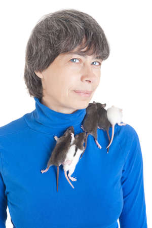 small infant rats on a breast and shoulders Stock Photo - 14965545